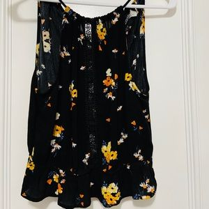 H&M Spaghetti strapped blouse black and yellow